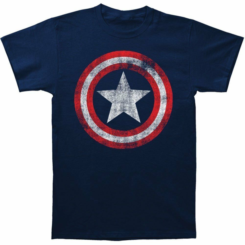 Adult Mens Navy Superhero Movie Captain America Star Distressed Logo T-shirt Tee Homme High Quality image