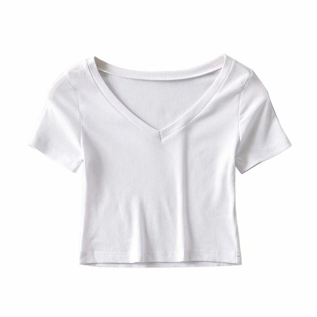 Bradely Michelle Casual Cotton New 2020 Summer Woman Slim Fit t-shirt tight Short-Sleeve V-neck tee Crop Tops 2