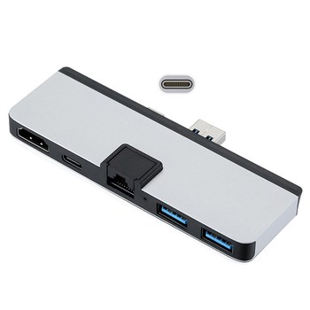 HDMI & Dual USB3.0 OTG & RJ45 Gigabit Ethernet & Power to Type-C USB-C Adapter for Surface Pro 7