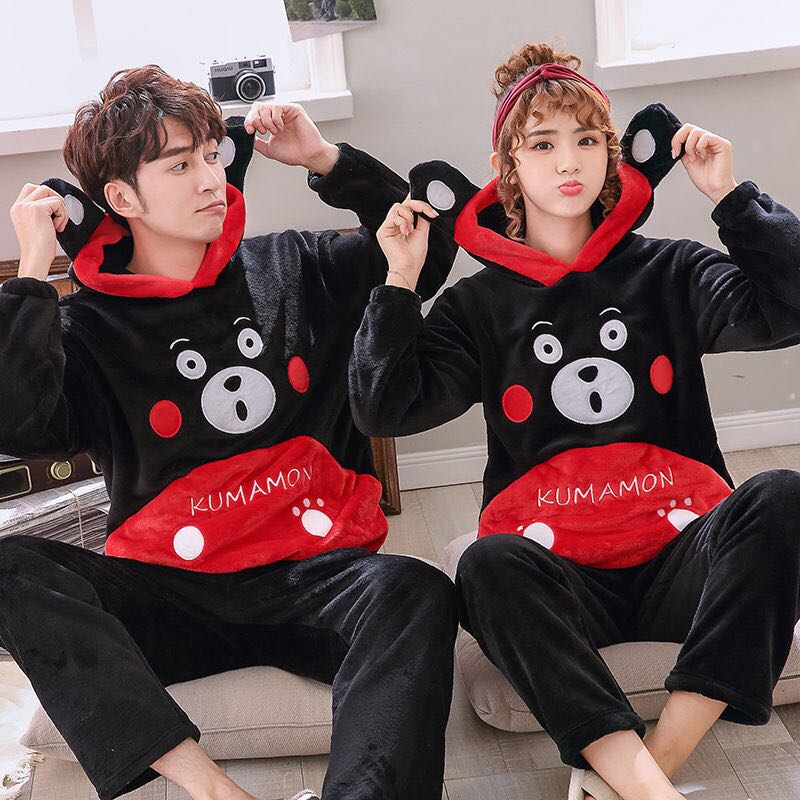 Men Sleep Wear Pyjama Night Wear  Plus Size XS-6XL White Sets  Warm Lover Hooded Sleepwear Women Cartoon Coral Fleece Lounge Set