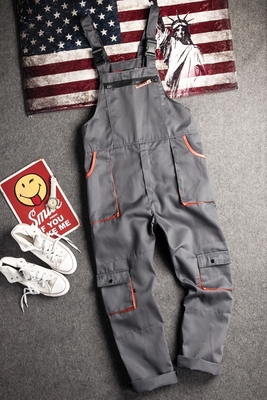 Salopette Vintage Harajuka à manches longues pour hommes, salopette Cargo à poches, ample, grande taille veste pour homme, décontracté