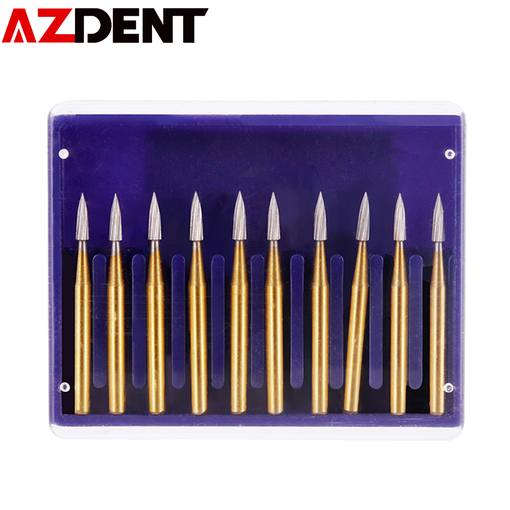 Azdent FG7901 FG7902 Trimming  Finishing Drills Dental Burs Tungsten Carbide Dental Clinic Lab Material  High Speed Dental Tools