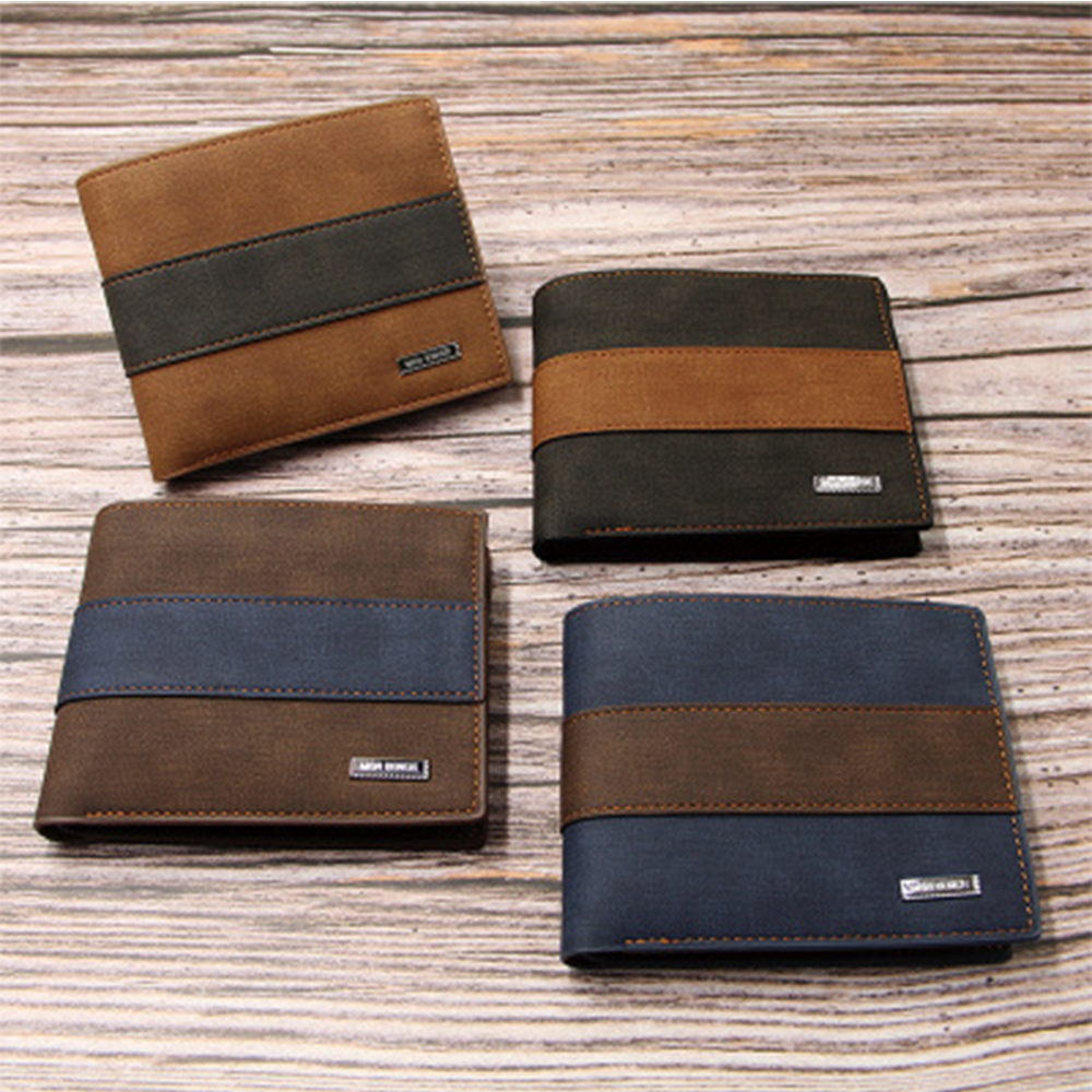 Men's Casual Wallets Leather Short Foldable Wallet Purse Credit Cards Holder Multi-function Card Money Bag