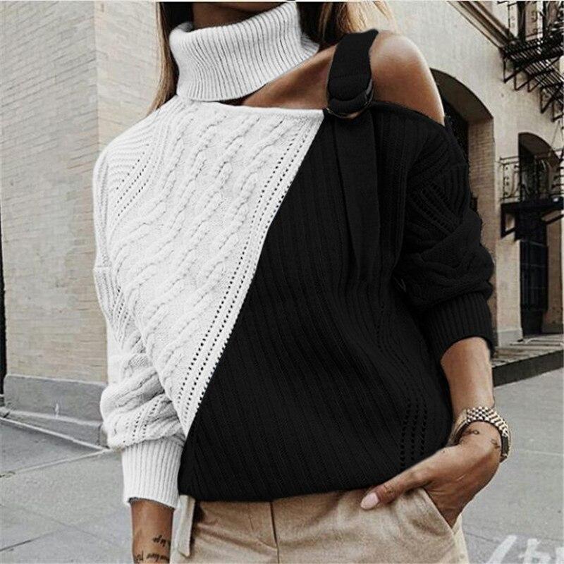 177.84руб. |Весна 2020, модный новый женский свободный свитер со шнуровкой, Повседневный свитер с длинным рукавом и высоким воротом|Водолазки| |  - AliExpress