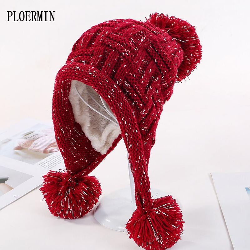 Fashion Women's Winter Hat With Ears Warm Fleece Inside Beanie Cap Girl Knitted Hats For Female Thick Skullies Pompom Hat 11.11