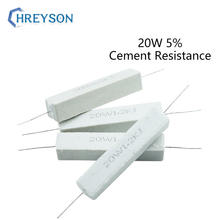 Ceramic Cement Resistance Accuracy 5% 20W 10.1/0.5/1/2/4.7/5/8/10/20/47/50/100 Euro 1K 10K 100K 2Pcs