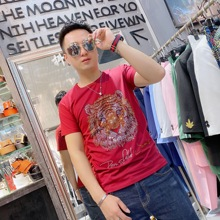 T-Shirt Clothing Short-Sleeve Rhinestone Round-Neck Hot-Brand Tiger Asian-Size Slim M-4XL