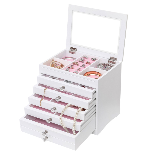 High Large Gloss Wooden Jewellery Box Armoire Bracelet Organizer Storage 5 Layers Glass White Wooden Multi