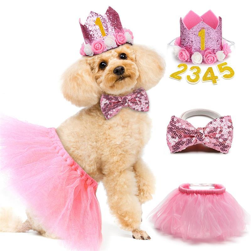 3PCS Pet Birthday Costume Set Fashion Sequin Birthday Hat With Bowtie Tutu Skirt Pet Clothing & Accessories Cat Dog Supplies