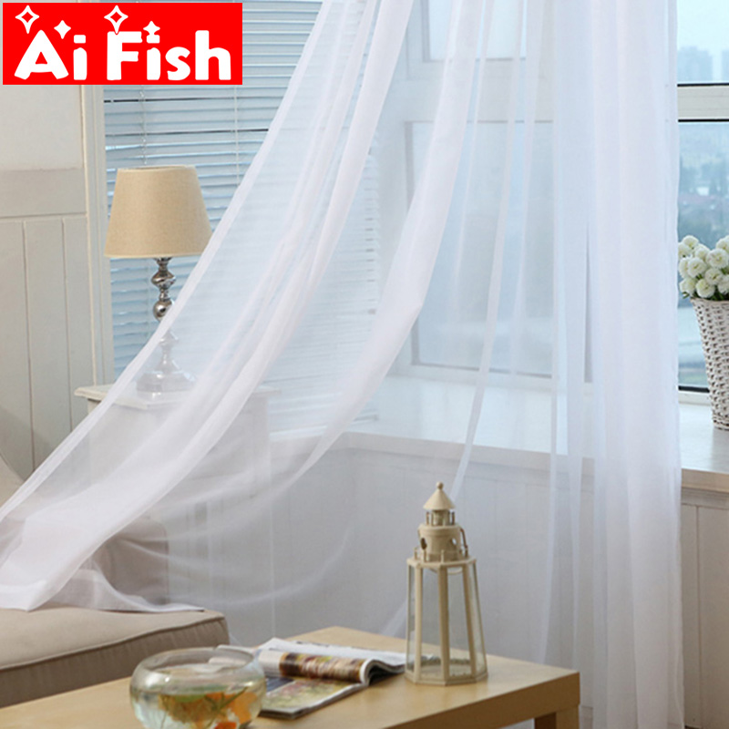 Modern White Sheer Voile Curtains For Living Room Solid Panel Kitchen Tulle Curtain Translucidus Home Window Decoration Drapes