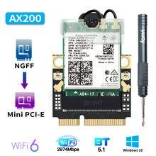 2974 Мбит/с для Intel AX200 Wifi 6 Mini PCI-E адаптер Bluetooth 5,0 двухдиапазонный 2,4G/5 ГГц 802.11ax/ac MU-MIMO беспроводная сетевая карта