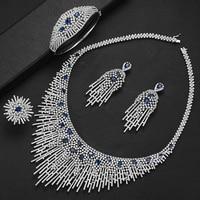 GODKI Luxury Fireworks Dubai Gold Jewelry Set Nigerian Wedding African Beads Bridal Jewellery Set Cubic Zircon Ethiopian Jewelry