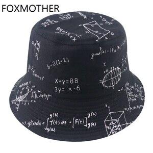 FOXMOTHER New Panama Black White Letter Mathematics Function Print Fisherman Fishing Caps Bucket Hats Gorros Women Mens 2020