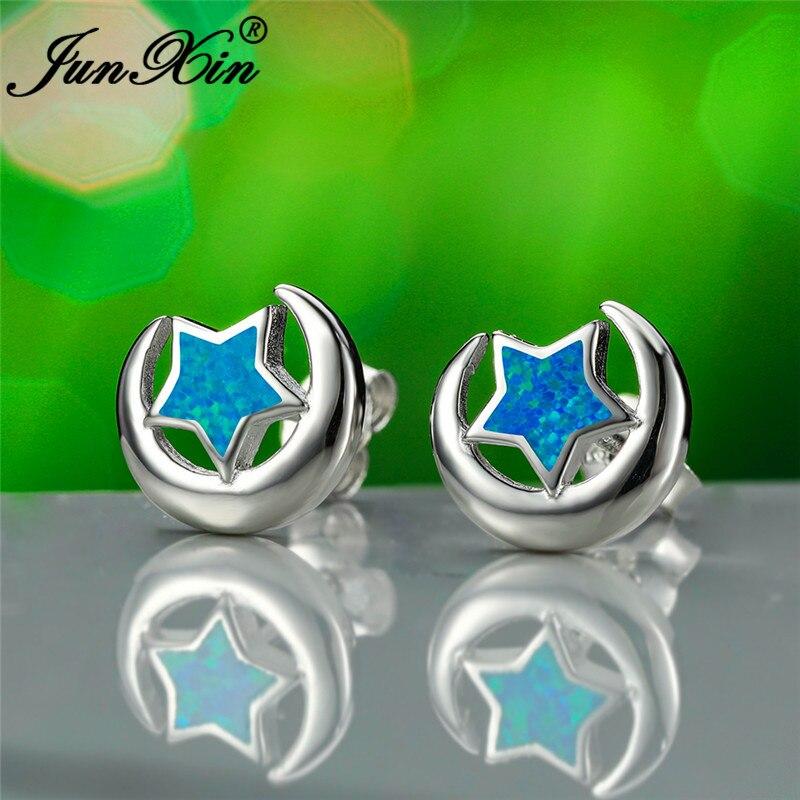 White Gold Filled Moon Star Stud Earrings For Women Men Blue White Fire Opal Earrings Bridal Engagement Wedding Jewelry