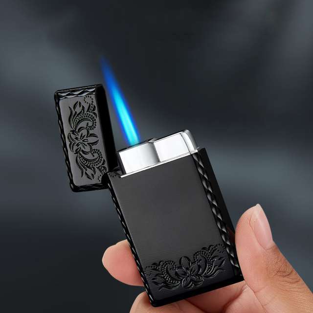 2020 New 1300C Blue Flame Butane Turbo Lighter Square Mini Gas Lighter Metal Lighters Smoking Accessories Cigarettes Lighters 3