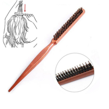 Comb Comb-Hairbrush Barber-Tool Hairdressing Wood-Handle Boar-Bristle Natural Salon 1pc