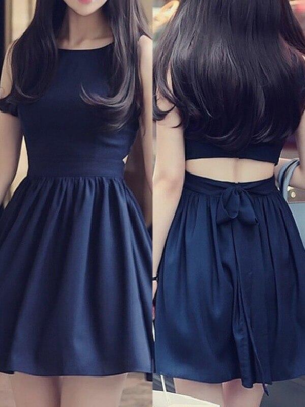 2020 Elegant Homecoming Dress A-Line/Princess Scoop Sleeveless Short/Mini Chiffon Dresses For Party