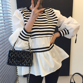 [EWQ] O Neck Striped Color Loose Puff Sleeve Shirt Korean Knitting stitching Ladies Top Patchwork Blouse Blusas Summer 2021 W535 1