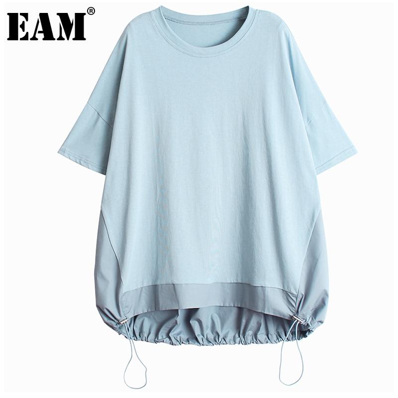 [EAM] Women Blue Drawstring Big Size Irregular Casual T-shirt New Round Neck Half Sleeve Fashion Tide Spring Summer 2021 1DD7948