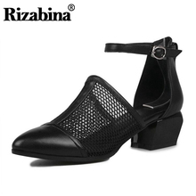 RIZABINA Sandals Women Cut Out Genuine Leather Block Chunky Square Heel Gladiator Rome Ankle Strap Shoes Women Size 34-40 qutaa 2017 women sandals summer genuine leather square low heel shoes ankle strap white ladies beach wedding shoes size 34 39