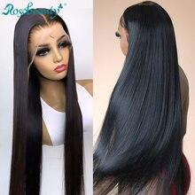 Rosabeauty barato brasileiro em linha reta 13x4 frente do laço perucas de cabelo humano pré arrancado nós descorados para preto mulher 28 30 40 Polegada peruca
