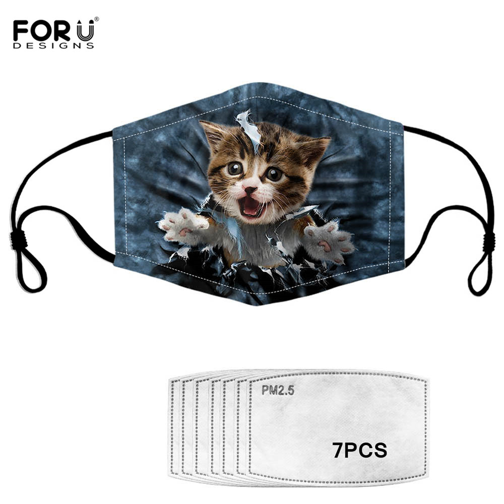 FORUDESIGNS Mask with 7 Filter for Anti Haze/PM2.5 Jeans Style Cute Denim Cat Designer Kids Face Mask Dustproof Mouth Mask Adult