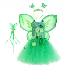 Green Flower Fairy Tinkerbell Tutu Dress Girl Kids Christmas Clothes Teen Halloween Cosplay Costume with Wings Set