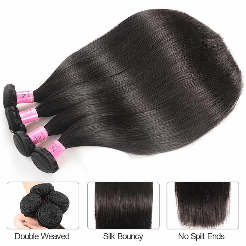 Pelo Liso peruano UNice, 3 mechones con cierre de encaje, 4/5 Uds., cabello humano de encaje suizo, peluca de bricolaje