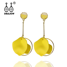 DREJEW Orange Pink Blue Yellow Statement Flower Earrings 2019 Silver 925 Cute Drop for Women Wedding Jewelry HE8821