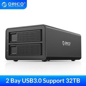 Док-станция ORICO для HDD, 3,5 дюйма, 2 отсека, USB3.0, 32 ТБ, вместительный чехол для жесткого диска 2,5, 3,5 дюйма, жесткий диск HD SSD