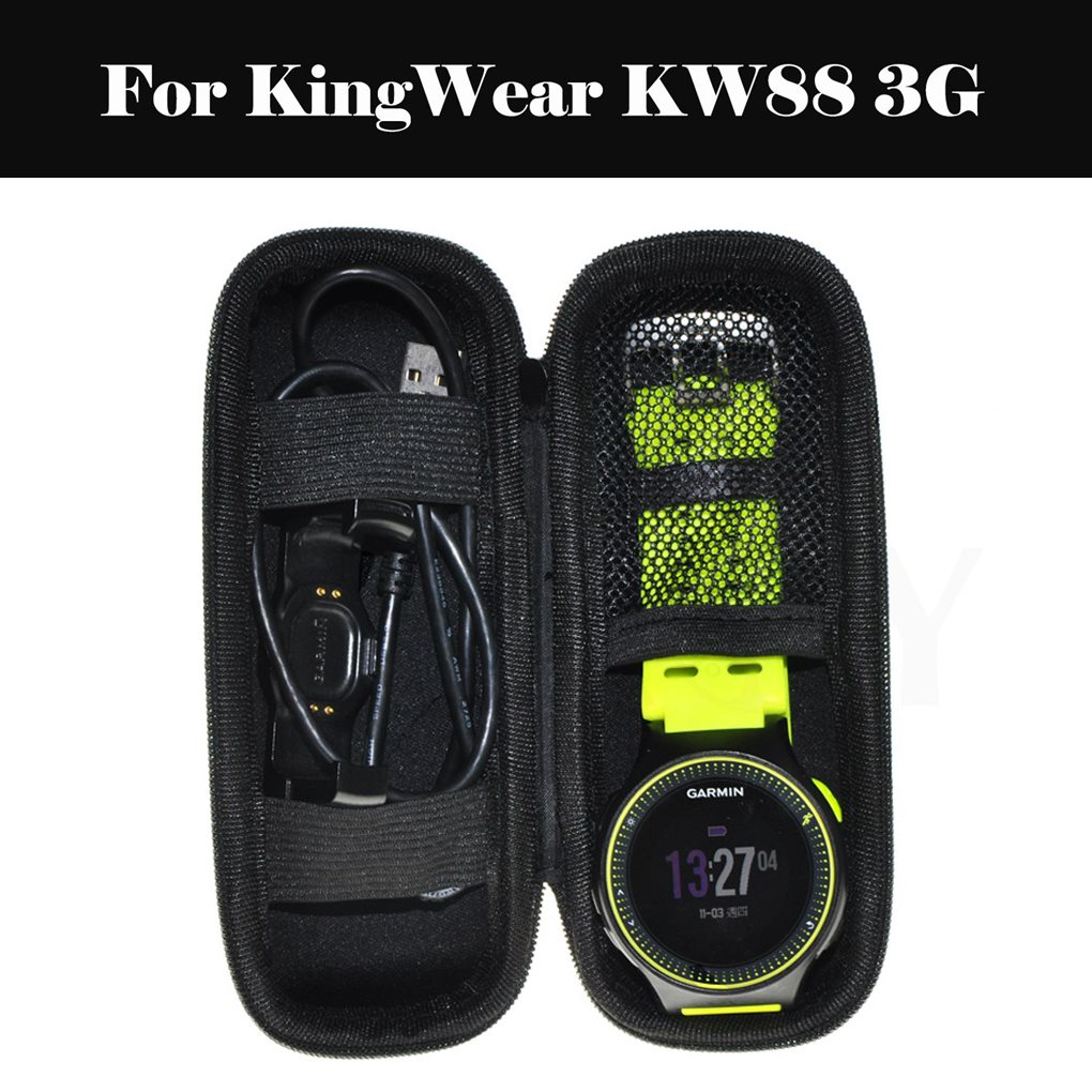 Travel Strap Organizer Storage Bag With Zipper <font><b>Watch</b></font> <font><b>Band</b></font> Box Solid Portable For KingWear <font><b>KW88</b></font> 3G image