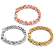 Hip Hop  Cubic Zirconia Bracelet Tennis Chain Bracelets Women Men Link Jewelry Gold Silver Rose