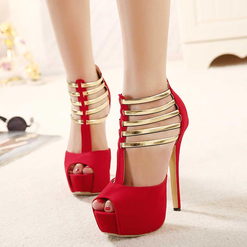 Sexy High Heels Frauen Schuhe Plattform Peep Toe Hochzeit Schuhe Frauen Pumps Schwarz Rot Schuhe Frau High Heel Schuhe