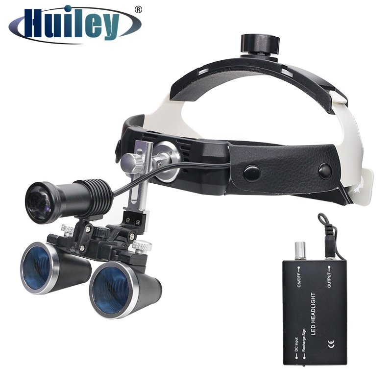 3 5X High Intensity LED Light Surgical Operation Medical Magnifier with  Dental Headlight Surgical Dental Loupes