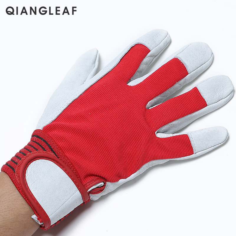 Image 2 - QIANGLEAF Brand Red Products Mechanic Work Gloves Leather Welding Coat Heavy Industrial Glove Safety Sport Glove 5163-in Safety Gloves from Security & Protection