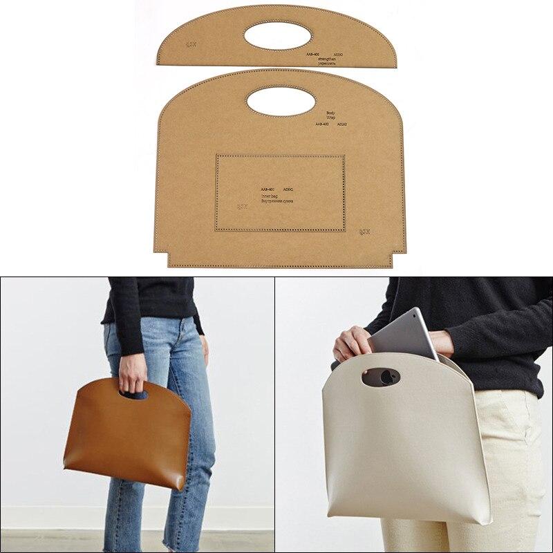 Bricolage à la main dames sacs à main sac fourre-tout Kraft papier modèle à la main en cuir artisanat sac modèle 34cm * 28cm * 4cm