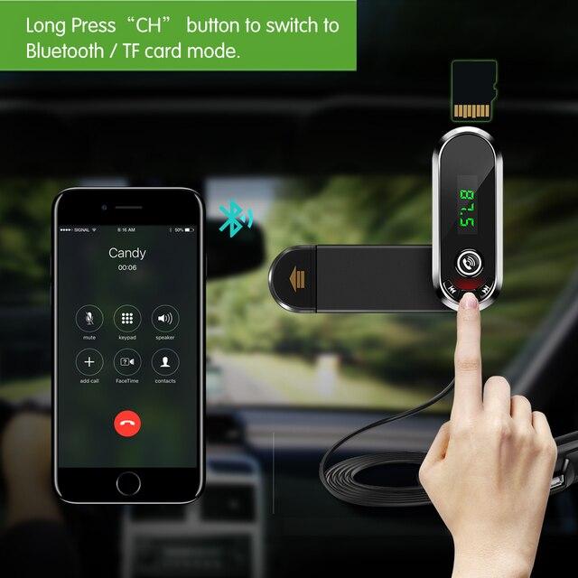มัลติฟังก์ชั่ผู้ถือโทรศัพท์ Fast USB Charger FM Transmitter เสียง MP3 บลูทูธรถชุดแฮนด์ฟรี Mic สำหรับสมาร์ทโฟน