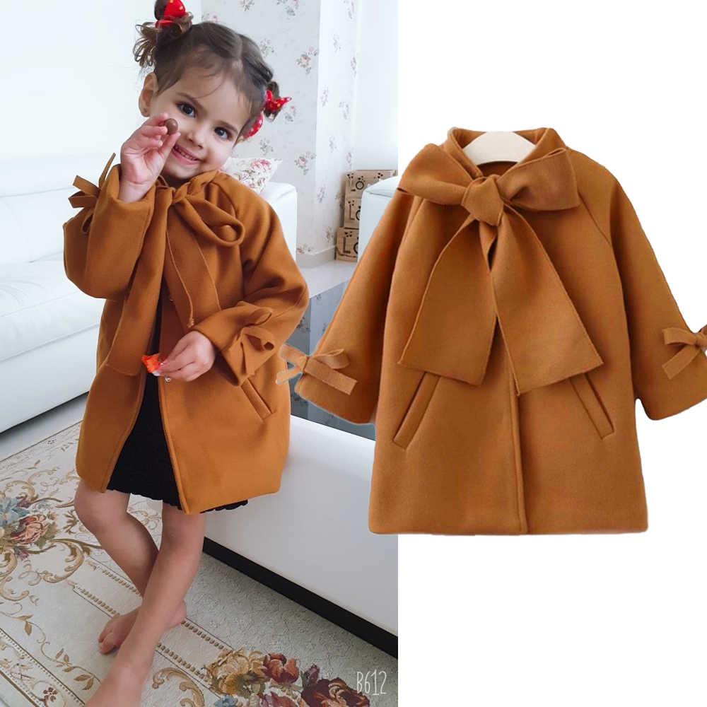 かわいい幼児の子供の女のオーバーコートウールちょう結びシングルブレストのコート上着冬暖かい服防寒着 2- 8 T