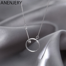 ANENJERY Light Luxury 925 Sterling Silver Circlr Necklace for Women Clavicle Chain Necklace Jewelry S-N736