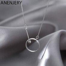 ANENJERY Licht Luxus 925 Sterling Silber Circlr Halskette für Frauen Schlüsselbein Kette Halskette Schmuck S-N736
