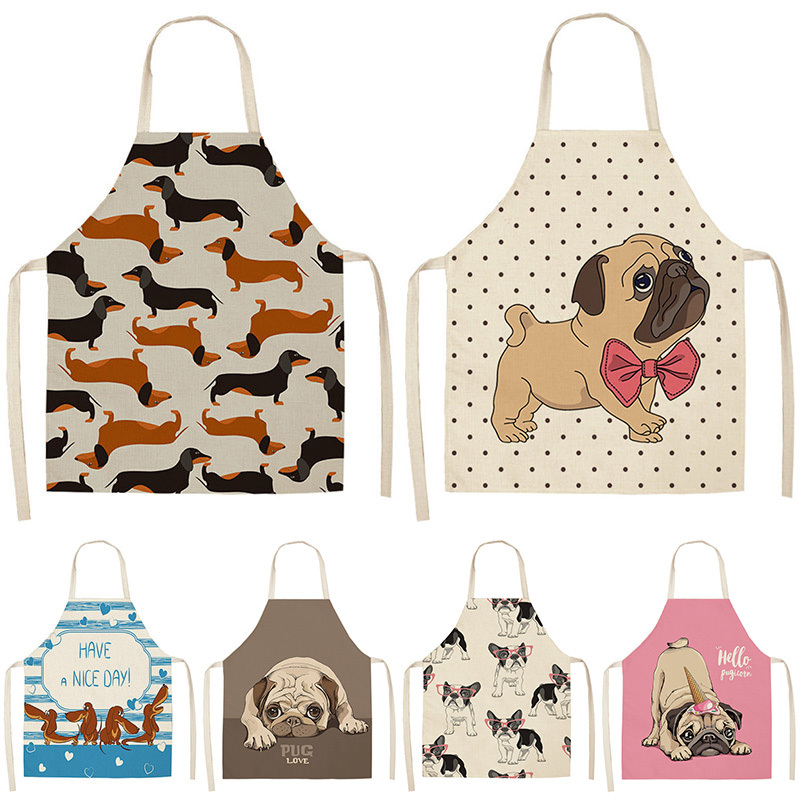 Bulldog Dachshund Pug Dog Printed Kitchen Apron for Woman Cotton Linen Bib 53*65cm Home Cooking Baking Cleaning Tool WQ0037