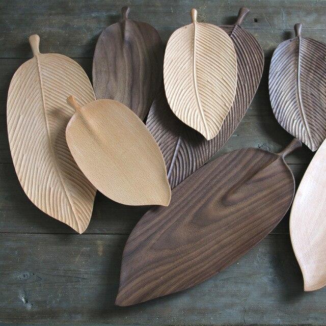 Plateau à thé en bois massif | original, fait à la main en bois, assiette en feuilles de fruits, plateau à thé créatif, plat à sushi, japonais