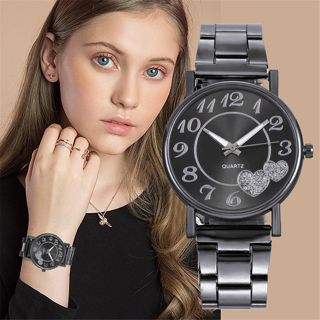 DUOBLA Luxury Women Watches Fashion Quartz Wristwatches Gold Silver Stainless Steel Strap Heart Shaped Watch Alloy Dress