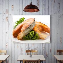 60x40cm Delicious Salmon With Lettuce Home Background Wall Food Theme Hanging Picture Kitchen Restaurant Wall Decor