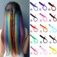 JINKAILI Long Straight Highlight Synthetic Hair Extensions Clip In One Piece Rainbow Streak Strips Pink Hairpiece Sports Fans