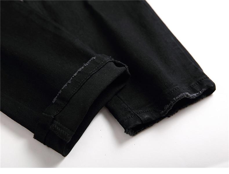 Black Jeans Men Pants Slim Fit Stretch Fashion Rivets Desinger Patchwok Streetwear Men's Trousers