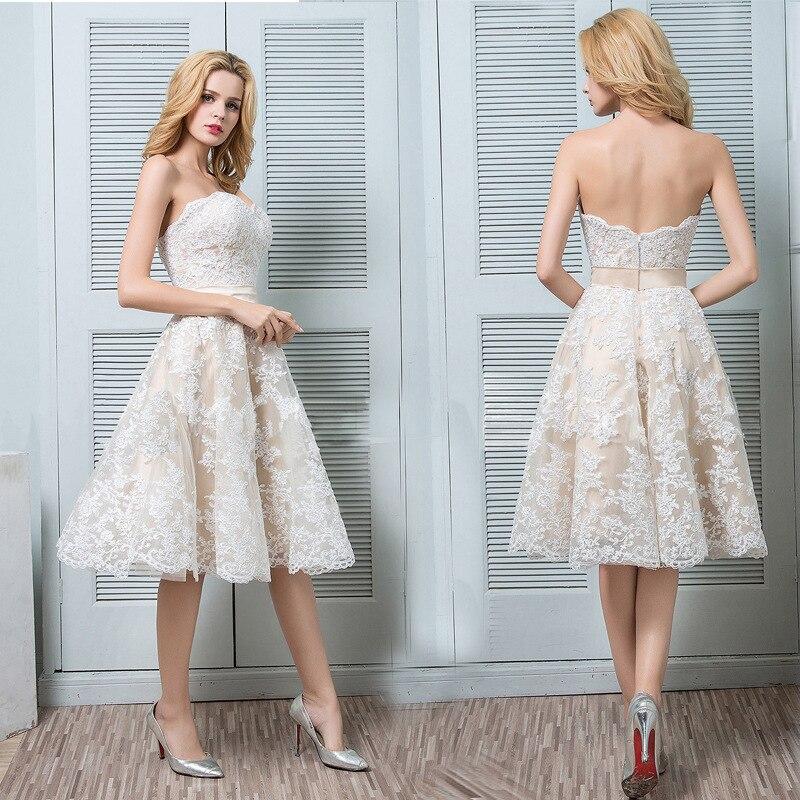 Hot Sale Sweetheart Beach Wedding Dress 2020 Short Champagne Appliqued Lace Bride Dresses Knee Length Backless Wedding Gowms