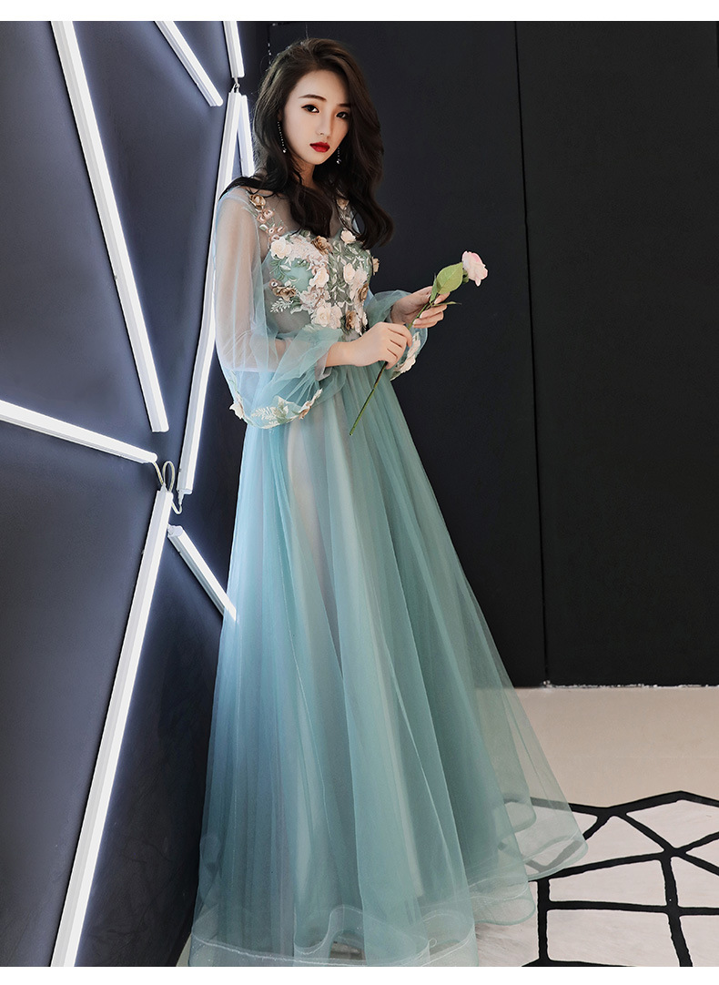 Banquet Evening Gown Long Women's 2019 New Style Nobility Elegant Debutante Host Long Sleeve Art Exam Annual General Meeting Dre