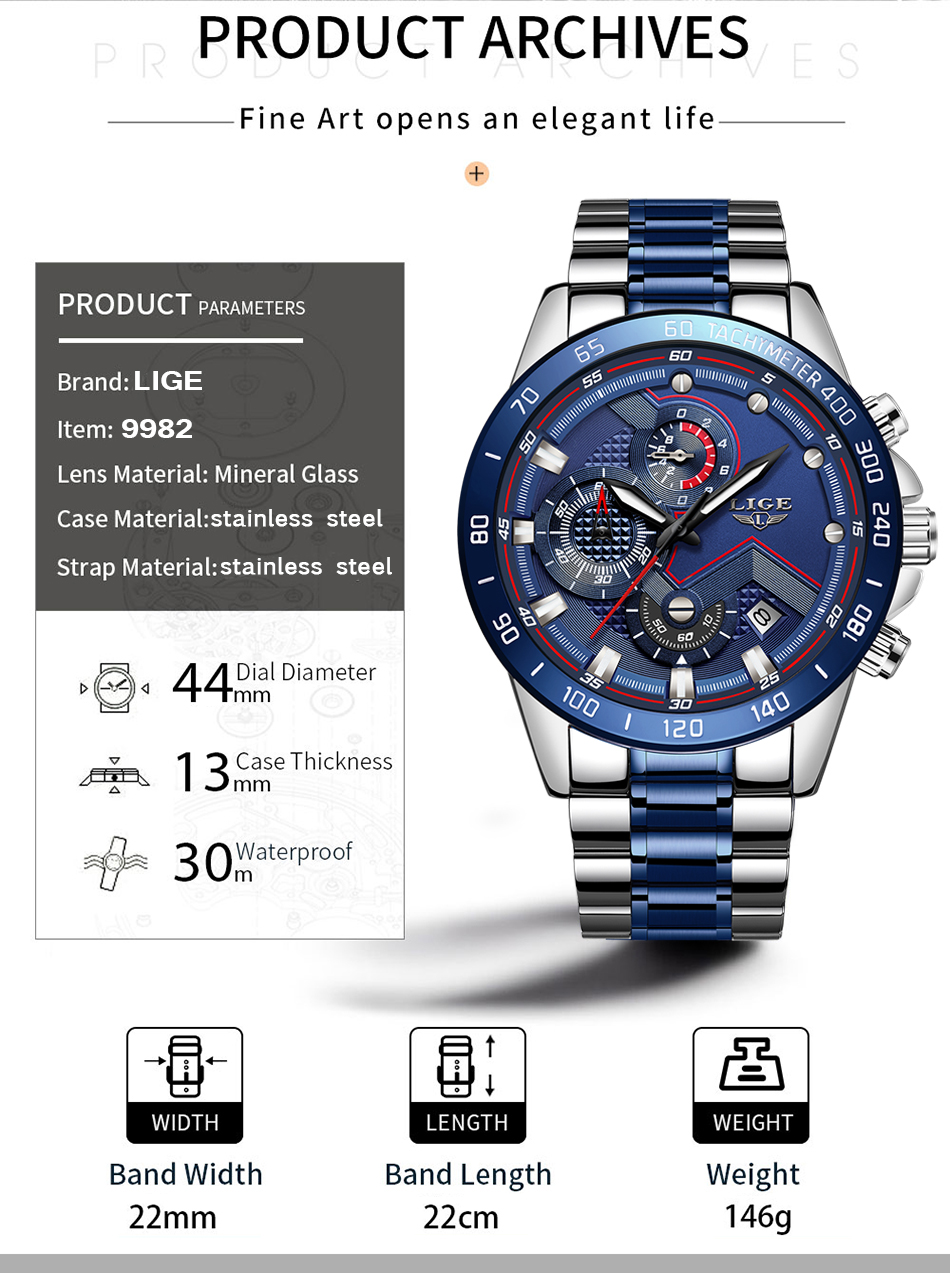 H1aede8d9fd4d4b3896cfe248d0087882c Relogio Masculino LIGE Hot Fashion Mens Watches Top Brand Luxury Wrist Watch Quartz Clock Blue Watch Men Waterproof Chronograph