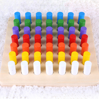 Montessori Wooden Math Toys Colorful Cylinder Socket Blocks Toy Set Early Mathematics Learning Educational Games For Children